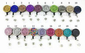 Wholesale Multi-Colored Rhinestone Crystal Retractable ID Badge Reel Holder