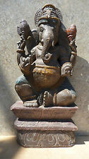Hand-Carved, Hand-Painted Wood Ganesh Statue