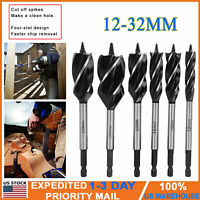 6 pcs 12-32MM 4 Slot Drill Bit Tool Set 6.5inch Woodworking Twist Drill Cutting