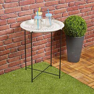Folding Metal Round Bistro Coffee Table Patio Indoor Outdoor Furniture Summer