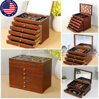 4/6 Layer Wooden Jewellery Box Jewelry Organizers Storage Display Case Ring Gift