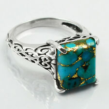 Copper Turquoise 925 Sterling Silver Ring Allison Co Jewelry Size-7.5 SR-42957