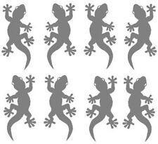 8 Gecko-Aufkleber silber-metallic f. Auto Tuning Fliesen Bad Deko, Wandtattoo