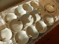"Set of 14 White Ceramic Canape Plates with Gold Rose Trim Size 4"" EUC!!"