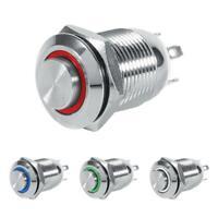 12mm LED Interruttore a pulsante momentaneo 3V impermeabile Per Moto