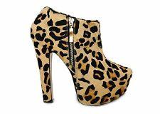 Topshop Estampado De Leopardo Plataforma Tacón Alto Tobillo Zapatos Botines 7 40