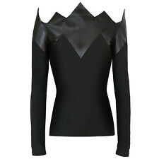 DAVID KOMA $1,876 black leather spike pointed shirt off-shoulder top 4-US/8-UK