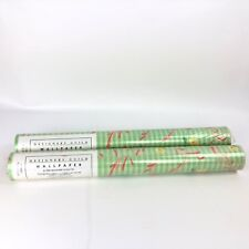 Designers Guild Wallpaper PRIMROSE Green Pink Yellow Floral Stripe 1989 Lot of 2