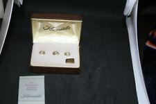 VINTAGE KREMENTZ  3pc STUDS SET 1980's NEW IN  ORIGINAL BOX: GOLD TONE & DIAMOND