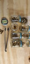 Lot of Old Brass Flat Head Rivets Jeans Leatherwork with Rivet press