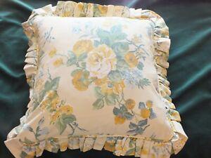 Vintage Laura Ashley Frilled Cushion - Gainsborough Cowslip