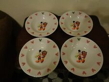 """Disney Mickey Mouse 11"""" Pasta Salad Bowl Christmas Peppermint F784 Set Of 4"""