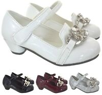 KIDS GIRLS CHILDREN LOW HIGH MID KITTEN HEEL DIAMATE PARTY BRIDESMAID SHOES SIZE