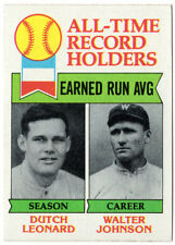 1979 Topps All-Time Record Holders Walter Johnson • Dutch Leonard ERA NM+