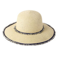 Women Summer Bucket Straw Sun Hat With Denim Fabric Fringed Edge and Band HT3282