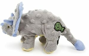 """goDog Dinos Triceratops With Chew Guard Technology Tough Plush Dog Toy Grey 9"""""""