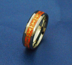 8MM Original Glow Ring Tungsten In The  Gold Cross Inlay Red Background