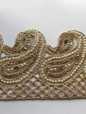 ATTRACTIVE INDIAN GOLD PAISLEYS WITH PEARLS,CRYSTALS JALI TRIM/LACE-sold by MTR