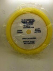 "Gliptone's Yellow Foam Curved Edge Light/Medium Cutting Pad - Velcro® Buffing 7"""