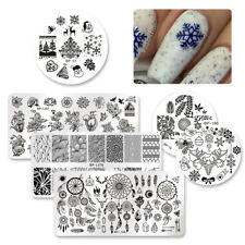 6Pcs BP Round & Rectangle Nail Art Stamping Plate Stainless Steel Image Template