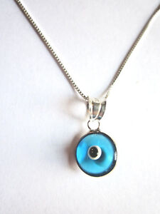 """Sterling Silver Small Blue Glass Evil Eye 1/2"""" Necklace 925 18"""" Box Chain Italy"""