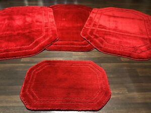 ROMANY WASHABLE GYPSY MATS 4PCS SETS OCTAGON BOARDER RED SOFT COMFORTABLE RUGS