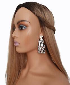 Stunning 7cm long silver tone geometric layered crinkle design drop earrings