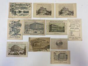11pc Lot Intentional European Hotels Business Cards Receipt Menu Travel Memory
