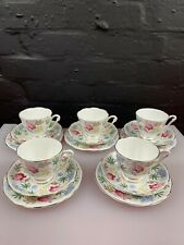 More details for 5 x queen anne bone china verona tea trios cups saucers and side plates set