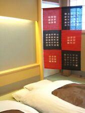 Kyoto Check Noren Door curtain Roketsu Dye Red and Black 88x150 Japan