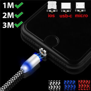 1-3M Magnetic Led Light Micro USB Fast Charger Cable For Apple iPhone Sumsung