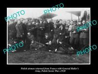 OLD LARGE HISTORIC PHOTO POLAND MILITARY AIRMEN THE POLISH SOVIET WAR c1910