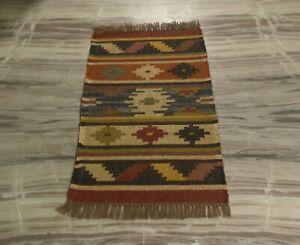 Hand Woven Jute Wool Oriental 2x3 Ft Small Door Mat Reversible Kilim Rug DN-2137