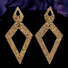 New Fashion Gold GP Golden Crystal Rhinestone Rhombic Drop Dangle Earrings 2949