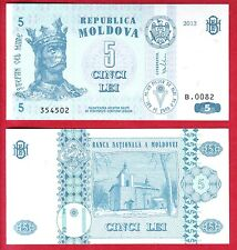 R* MOLDOVA BANKNOTE 5 LEI 2013 UNC CONDITION CRISP