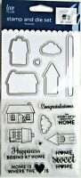 New Home & Happiness Card Sayings Clear Acrylic Stamp & Die Set by Love Nicole