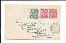 PANAMA 1931 COVER TO UK REDIRECTED 1c,2x 2c TIED PURPLE COLON CDS. WYMONDHAM CDS