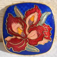 Vintage Cloisonné Enamel Hibiscus Red Flower Floral Bolo Tie Pendant Slide VTG