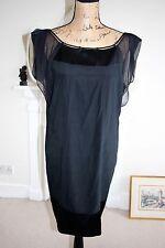 Diane Von Furstenberg 12 Black Silk Cocktail Dress Chiffon Cap Sleeves Medium M