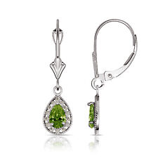 1.65 CTW Halo Peridot Pear Tear Drop Dangle Leverback Earrings 14K White Gold