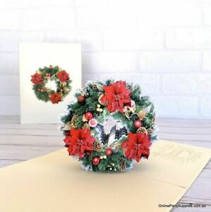 Traditional Christmas Red Poinsettia & Gold Pine Flower Wreath Card