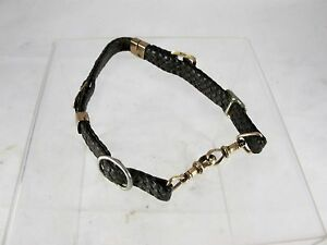 ANTIQUE DOG COLLAR 9CT ROSE GOLD FINELY PLAITED LEATHER C1910