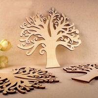 KE_ Wooden Autumn Tree Shape Craft Blank Wedding Guestbook Decoupage Family No