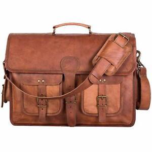 New men's leather laptop messenger bag briefcase cross body bag genuine handmade