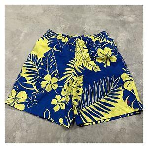 90s VTG POLO SPORT RALPH LAUREN Swim Trunks Palm Tree M Yellow Baggies Shorts
