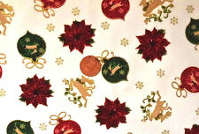 CREAM WITH RED & GREEN XMAS BAUBLES & GOLD REINDEER - COTTON FABRIC LARGE FQ