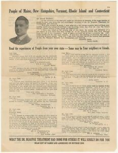 1920s Patent Medicine Flyer- Dr. Beaupre Treatment for Rheumatism & Neuritis
