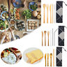 Wooden Bamboo Cutlery Dinnerware Set Straws Fork Spoon Chopsticks Tableware