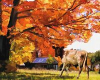 "perfect 36x24 oil painting handpainted on canvas ""a cattle under a tree""@N1518"