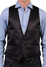 DOLCE & GABBANA Solid Black Silk Blend Satin Vest Waistcoat EU 50 NEW US 40/ M